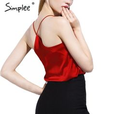 73265d58b5a04 BeAvant 2016 new summer style sleeveless silk white women tank top Sexy  deep v neck black camisole tank Casual party girls tops -- This is an  AliExpress ...