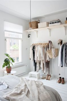 Image result for clothing rack in bedroom ideas