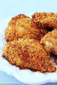 Finger-licking, crunchy baked chicken every bit as good as fried but without all the mess!