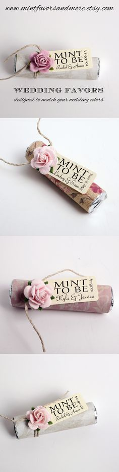 Blush pink wedding favors. Mint candies with a personalized tag reading mint to be. Order at www.mintfavorsandmore.etsy.com.