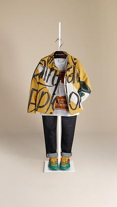 Burberry Antique Yellow Book Cover Print Leather Jacket - Inspired by the Prorsum runway collection. Grainy leather jacket with a typographic print, cut in a classic denim-inspired fit. Discover the childrenswear collection at Burberry.com