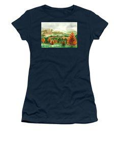 Transylvanian Autumn Women's T-Shirt featuring the painting Transylvanian Autumn by Olivia C