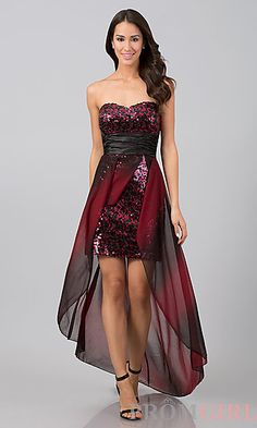 High Low Strapless Red and Black Sequin Dress at PromGirl.com