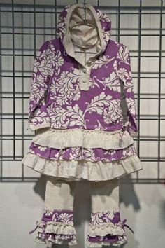 Lavender Hooded Ruffle Dress & Legging Set