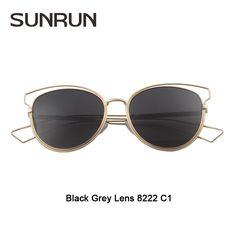 SUNRUN High Quality Sunglasses Women Brand Designer Vintage Sun glasses New Fashion Glasses Cat Eye Women Gafas Oculos 8222