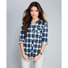 Soft Plaid Knit Pocket Shirt ($25) ❤ liked on Polyvore