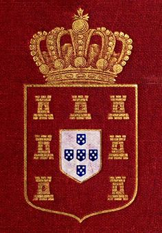 Royal arms of Portugal. Argent on five escutcheons in cross Azure, as many plates in saltire, all within a bordure Gules charged with seven castles Or. Portuguese Empire, Portuguese Culture, Queen Victoria Family Tree, Age Of Discovery, Military Orders, Chivalry, Knights Templar, New Years Eve Party, Coat Of Arms