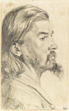Adolph MENZEL, Ecole allemande, Portrait d'un homme en buste, de profil à droite, cheveux mi-longs.