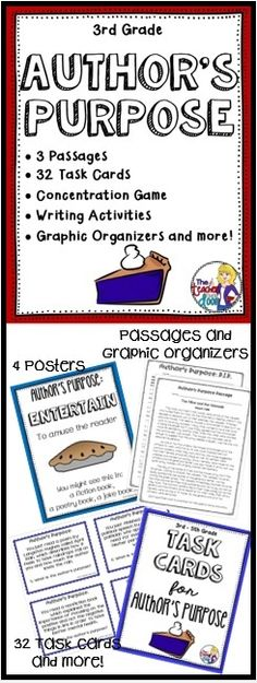 This 66 page Author's Purpose packet is filled with task cards, graphic organizers, worksheets, posters, doubled sided practice passages, writing activities, a foldable, a game and more! Motivating activities! (TpT Resource)