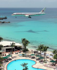 Airliner creating a shadow as it comes into land over Maho Beach, St Maarten. #Caribbean