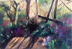 ARTFINDER: Sundown at Arger Fen by Kimberley  Harris - The ancient woodland Argen Fen in Suffolk, trees in the midst of shadows. This artwork is ready to hang with D-ring and wire fixings and the sides painted s...