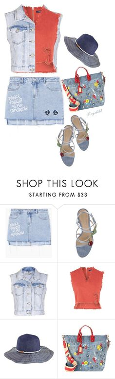 """All Denim,Head to Toe"" by ragnh-mjos ❤ liked on Polyvore featuring MANGO, Gianvito Rossi, Topshop, WÃ¥ven, San Diego Hat Co., Dolce&Gabbana, contest, outfit and alldenim"