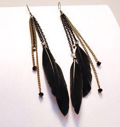 Black Feather Chain Earrings
