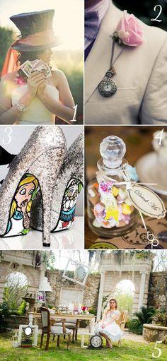 Mad Hatter tea party Alice in Wonderland wedding theme. Inspiration galore!