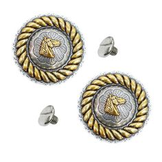 """Western Equestrian Tack Berry//Rope Horse Head Concho/'s 1 1//4/"""" Set of 6"""
