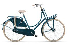 "Old Dutch Plus - typical #Dutch #bicycle called ""#Omafiets"", colour #seagreen with accents in #gold"