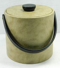 Fancy Ice Cube Bucket Pail Hotel Room Cooler Insulated Brown Tan Covered Mancave