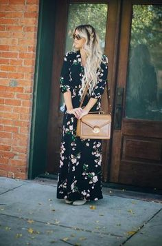 Bohemian Style Idea: Dark floral maxi, brown leather bag