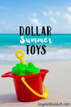 Stock up on cheap summer toys at the dollar store. Now is the time to shop before inventory disappears! Make a summer fun basket with these ideas!