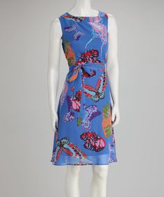 Take a look at this Blue Butterfly Sash-Waist Dress by Voir Voir on #zulily today!