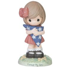Precious Moments Forever My Hero Girl W/Usa Folded Flag 151033 NIB