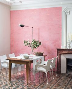 A rosy outlook! #Pink walls #white accents and amazing tile. #design