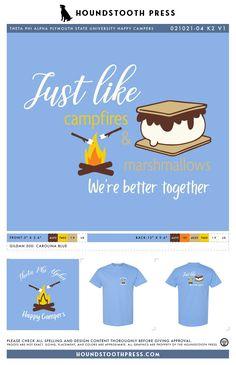 #sorority #greeklife #customdesign #lovethelab // Houndstooth Press Custom Apparel Sorority Pr, Sorority Outfits, Sorority Shirts, Plymouth State, Campfire Marshmallows, Custom Design Shirts, Greek Life, Carolina Blue, Theta