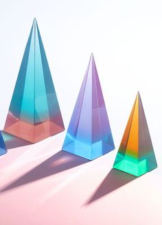 Explore the colorful and optical majesty of lucite with the Jonathan Adler Neo Geo Lucite Obelisks.