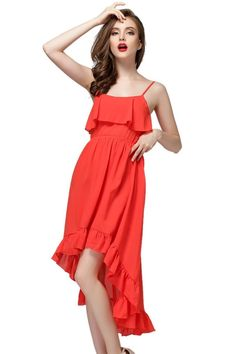 WithChic Red Slim Sling Bohemian Sleeveless Chiffon Dress