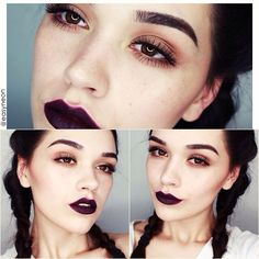 Dark makeup look | Subtle with dark lips