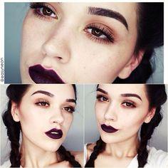 Dark makeup look | Subtle with dark lips