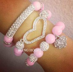NEW Bling Hoops Pink Heart Set