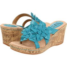 blue green wedge sandal. bridesmaid possible