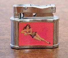 """Vintage 3D """"Pin-Up Girl"""" Cigarette Lighter, Image Changes to Another Pin-Up When You Move the Lighter, Made in Japan, 1960s Vintage."""