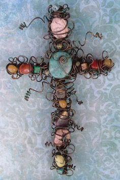 8-Inch Rustic Semi-Precious Gemstone Cross | MonsterMarketplace.com