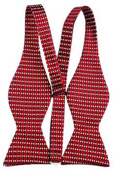 Self Bow Tie with Pocket Square Red Geometric Design