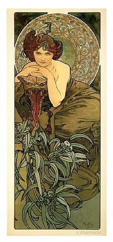 """Emerald"" by Alphonse Mucha"