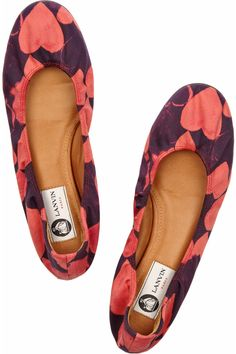Lanvin | Heart-print stretch cotton-sateen ballet flats