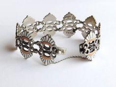 Vintage margo Taxco Mexican Silver Bracelets | Margot de Taxco Silver Enamel Sterling Link Bracelet Vintage Mexico