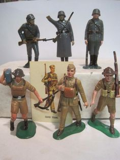 MARX WARRIORS OF THE WORLD PLAYSET 6 WWII BRITISH & GERMAN 60MM TOY SOLDIER #MARX