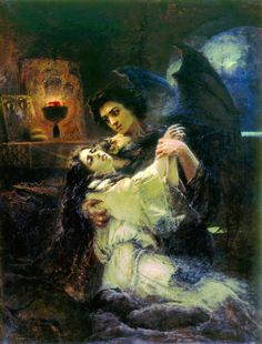 """life-imitates-art-far-more: """"Konstantin Makovsky (1839-1915) """"Tamara and Demon"""" (1889) Academism This painting is inspired by """"Demon"""" (Russian: Демон), a poem by Mikhail Lermontov, written in several..."""