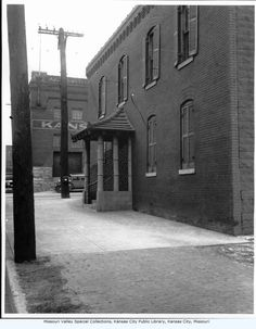 Annie Chambers' Brothel - the entrance to Annie Chambers house of prostitution, on the corner of 3rd and Wyandotte, has an oriental design.  circa 1930s.