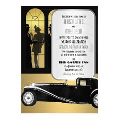 Vintage Roaring 20's Great Gatsby Wedding Invitations with Flappers and Gangsters in GOld and Black