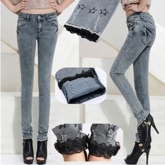 Free shipping 2014 spring women's jeans lace hem roll up pencil pants slim mid waist pants