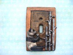 Cute Panda Light Switch Cover Polymer Clay  Lightswitch Plate Metallic Bamboo. $24.00, via Etsy.