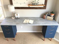 Ugly Home Office Makeover - Part The DIY File Cabinet Desk and How Chip Gaines' Hair Inspired Me - Beautiful Life Market desk with file cabinets Diy Office Desk, Home Office Space, Diy Desk, Home Office Desks, Home Office Furniture, Office Decor, Home Desk, Cheap Furniture, Desk Plans Diy
