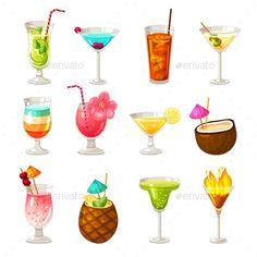 Club Cocktails Icons Set Cocktail Glass, Cocktail Drinks, Cocktail Recipes, Cocktails, Cocktail Illustration, Illustration Art, Party Icon, Beach Icon, Alcohol Bar