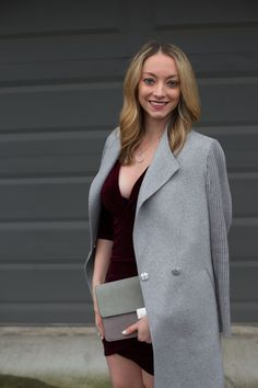 A dressy Valentine's Day outfit idea with a velvet bodycon dress and wrap coat. Full post: https://avecamber.blogspot.com/2018/02/valentines-day-outfit-idea-velvet-dress.html
