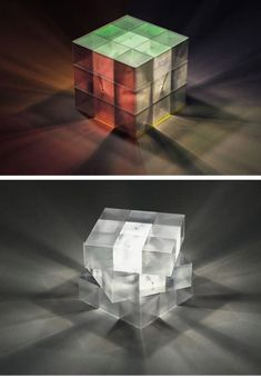 12 Most Creative Objects Inspired by the Rubik's Cube - creative objects, creative cube - Oddee Cube Design, 3d Design, Modern Design, Rubiks Cube Patterns, Cube Furniture, Light Art, Light Cube, Cube Puzzle, Gold Texture