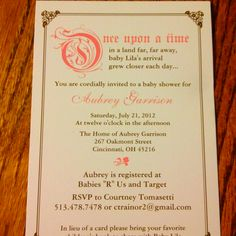 ONCE UPON A TIME   Storybook Baby Shower Invitation   Digital Printable  .jpeg Image   4x6 Or 5x7   Add On Enclosure Card Available | Baby Dewanda  ...